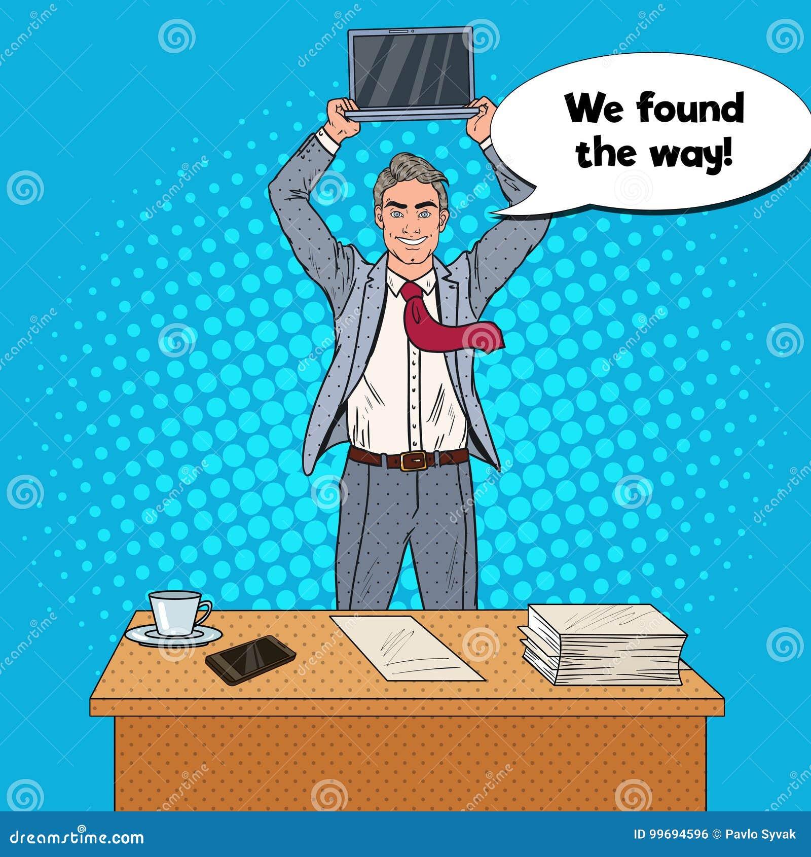 Bruit Art Happy Businessman Standing au Tableau de bureau et à l ordinateur portable de se tenir