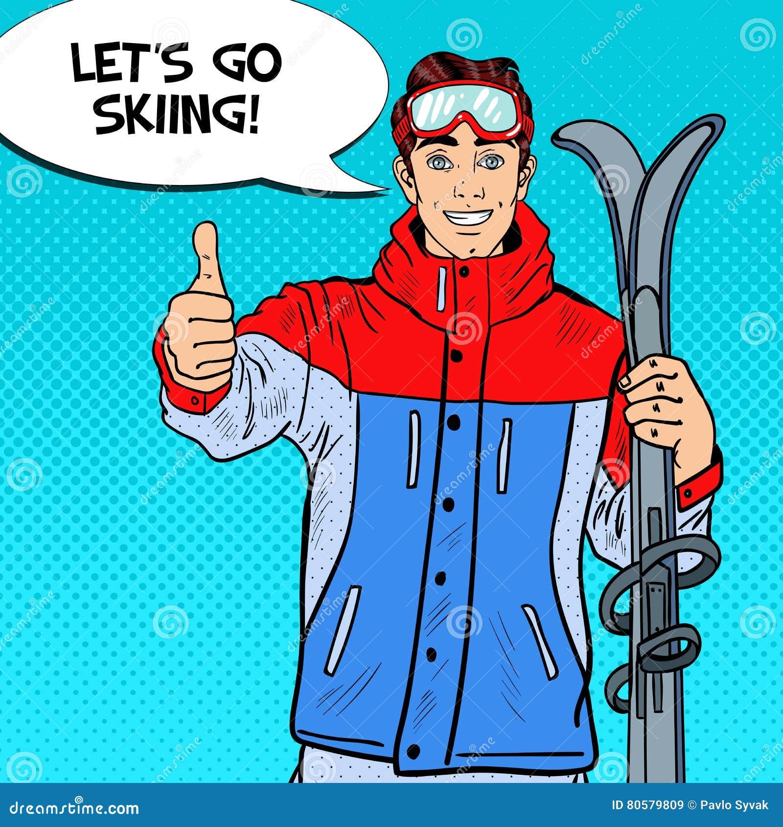 Bruit Art Happy Young Man sur Ski Holidays Gesturing Thumb Up