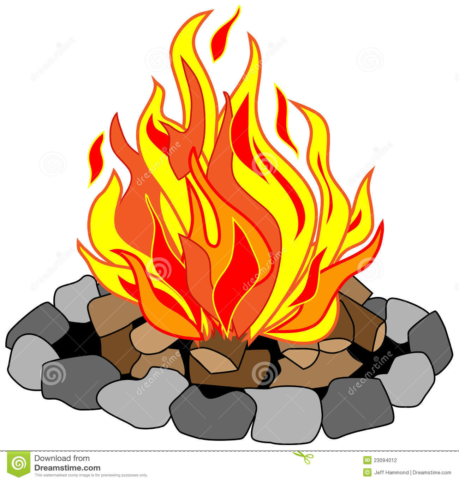 De vector tekening van kampvuur in een steenkuil met het branden ...: nl.dreamstime.com/stock-fotografie-brullend-kampvuur-image23094012