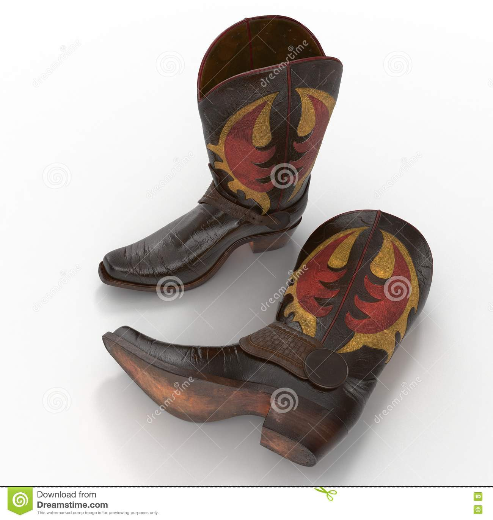 Brun Cowboy Boots Med Dekorativt Sy På Vit Illustration 3d