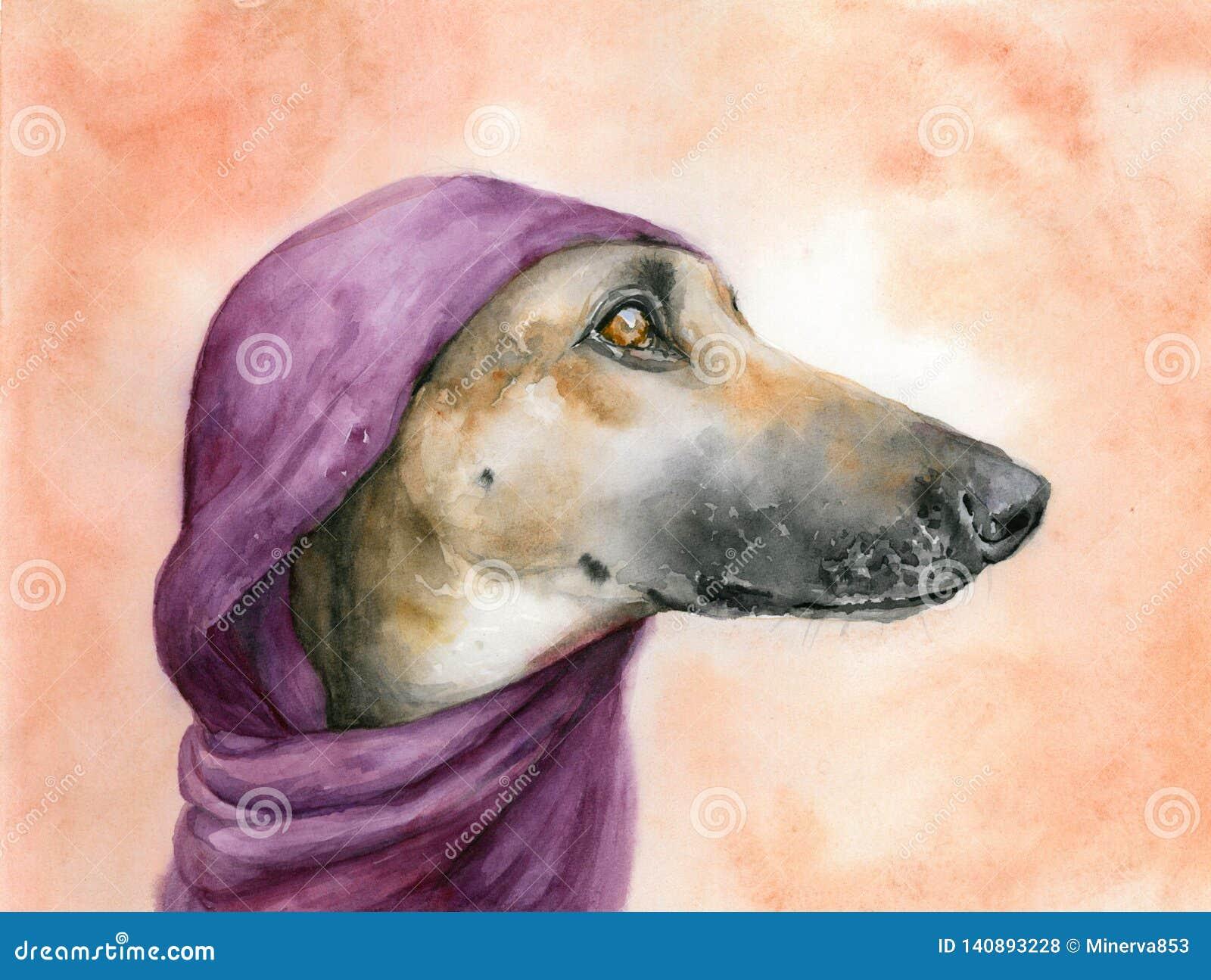 Brun hund med en purpurfärgad halsduk på huvudet som bort ser för flygillustration för näbb dekorativ bild dess paper stycksvalav