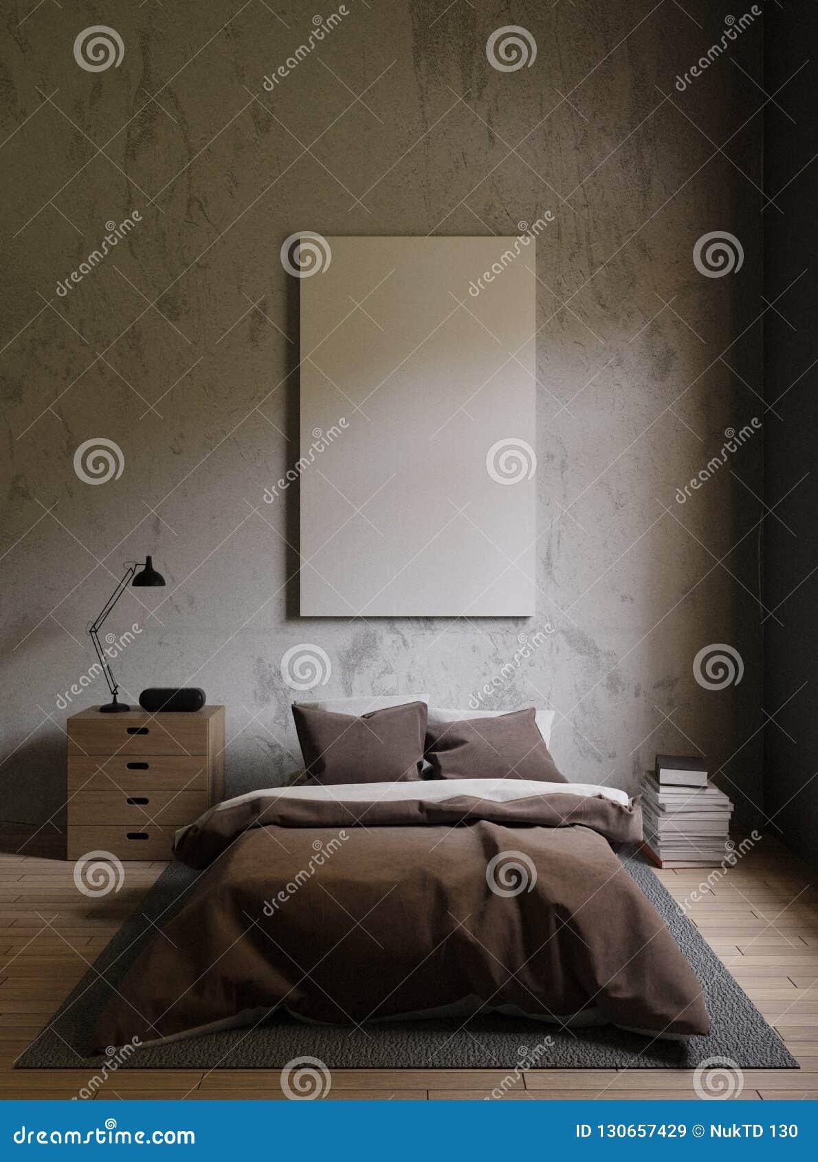 Brun säng i ett mörkt sovrum det ljusa ljuset från evigt ljus, matta, böcker, inre vind för kudde med betongväggar, renderi 3d