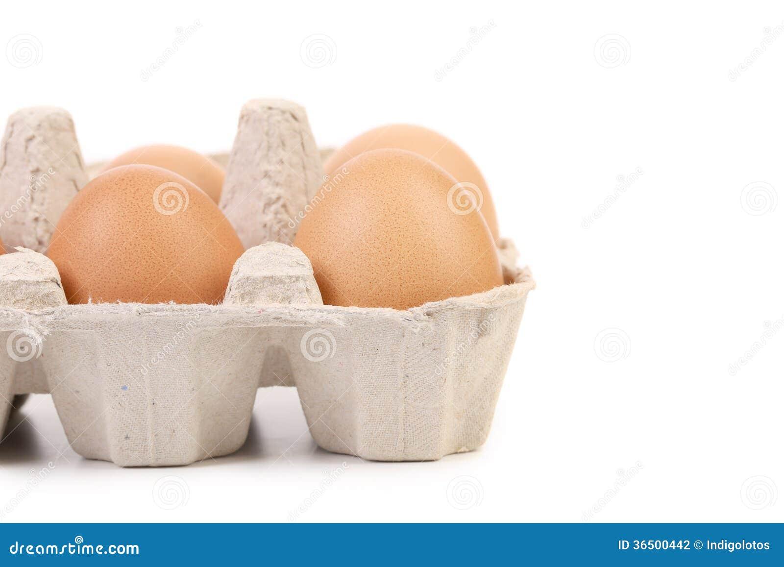 Bruna ägg i äggask.