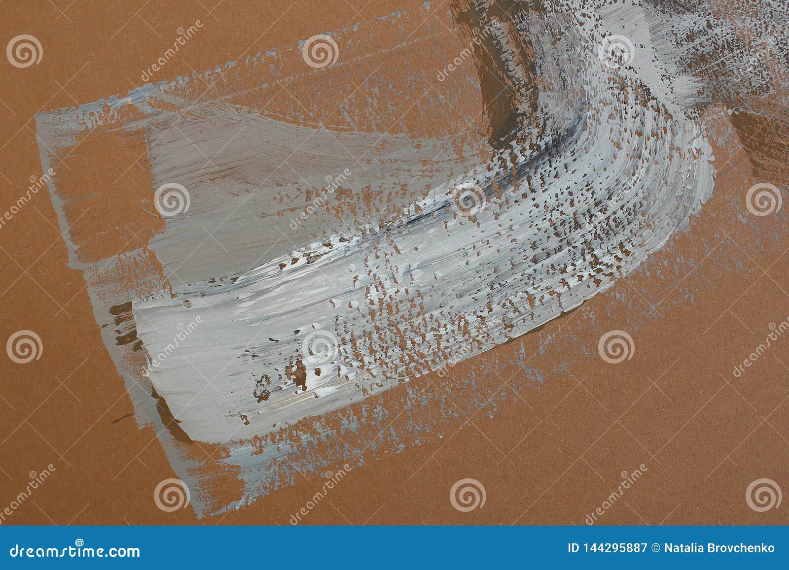 Bruna borsteslagl?ngder p? kanfas abstrakt konstbakgrund F?rgtextur Fragment av konstverk abstrakt kanfasm?lning