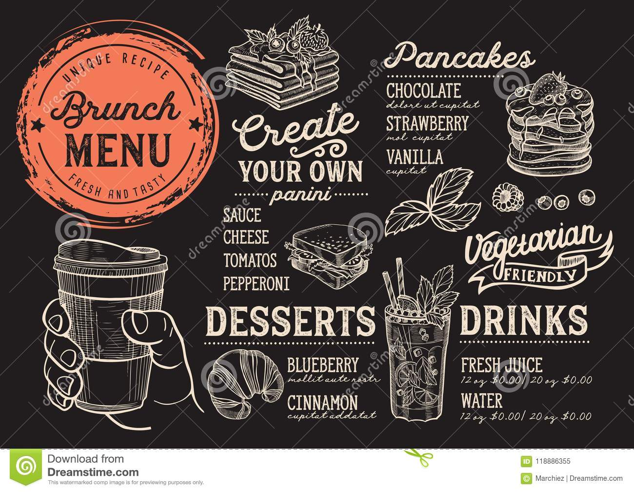 brunch menu restaurant food template stock vector illustration