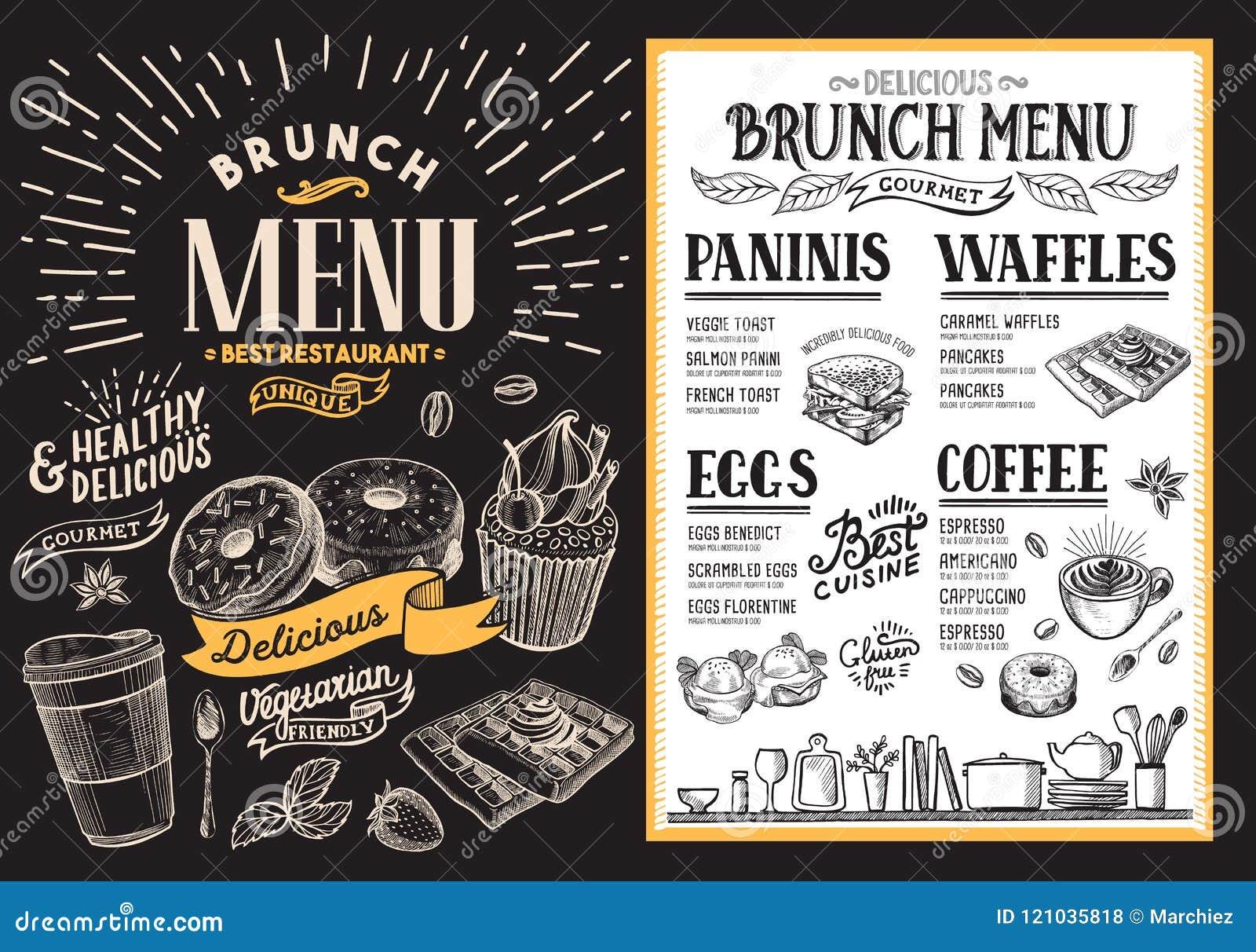 brunch restaurant menu vector food flyer for bar and cafe temp
