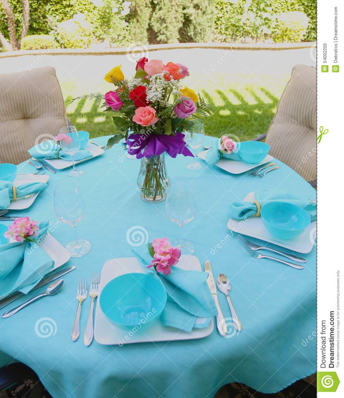 Brunch table setting stock image. Image of blue, table - 54002205