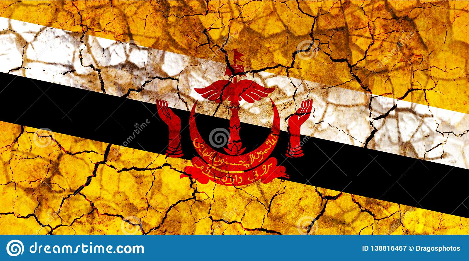 Brunei Country Flag Painted On A Cracked Grungy Wall Stock