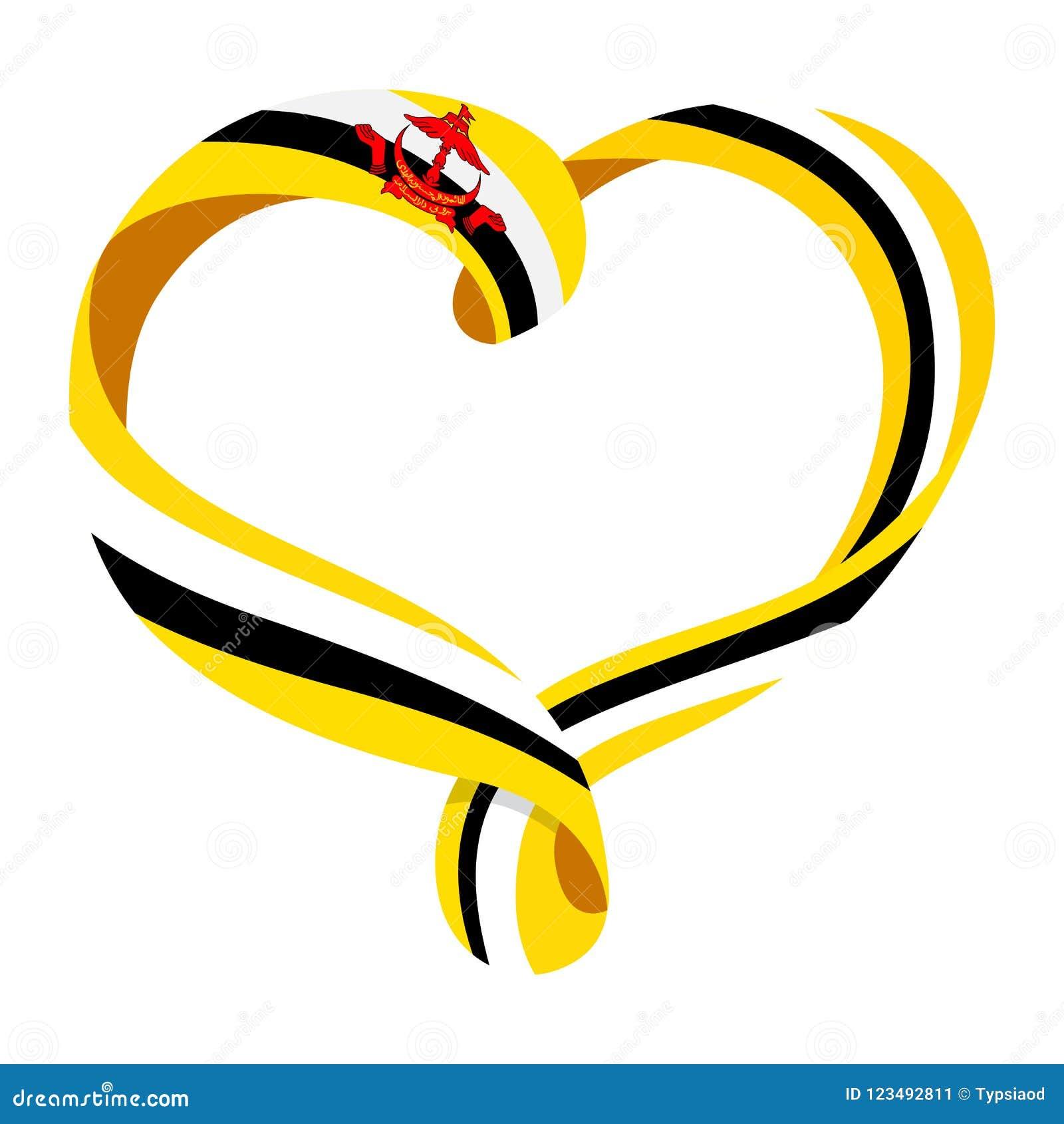 Brunei Flag Ribbon Shaped Heart Stock Vector Illustration Of