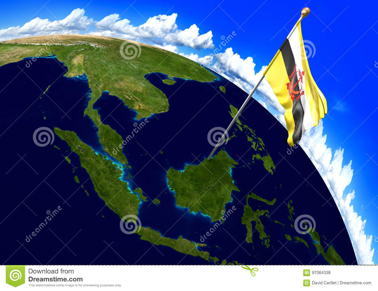 Brunei National Flag Marking The Country Location On World Map Stock