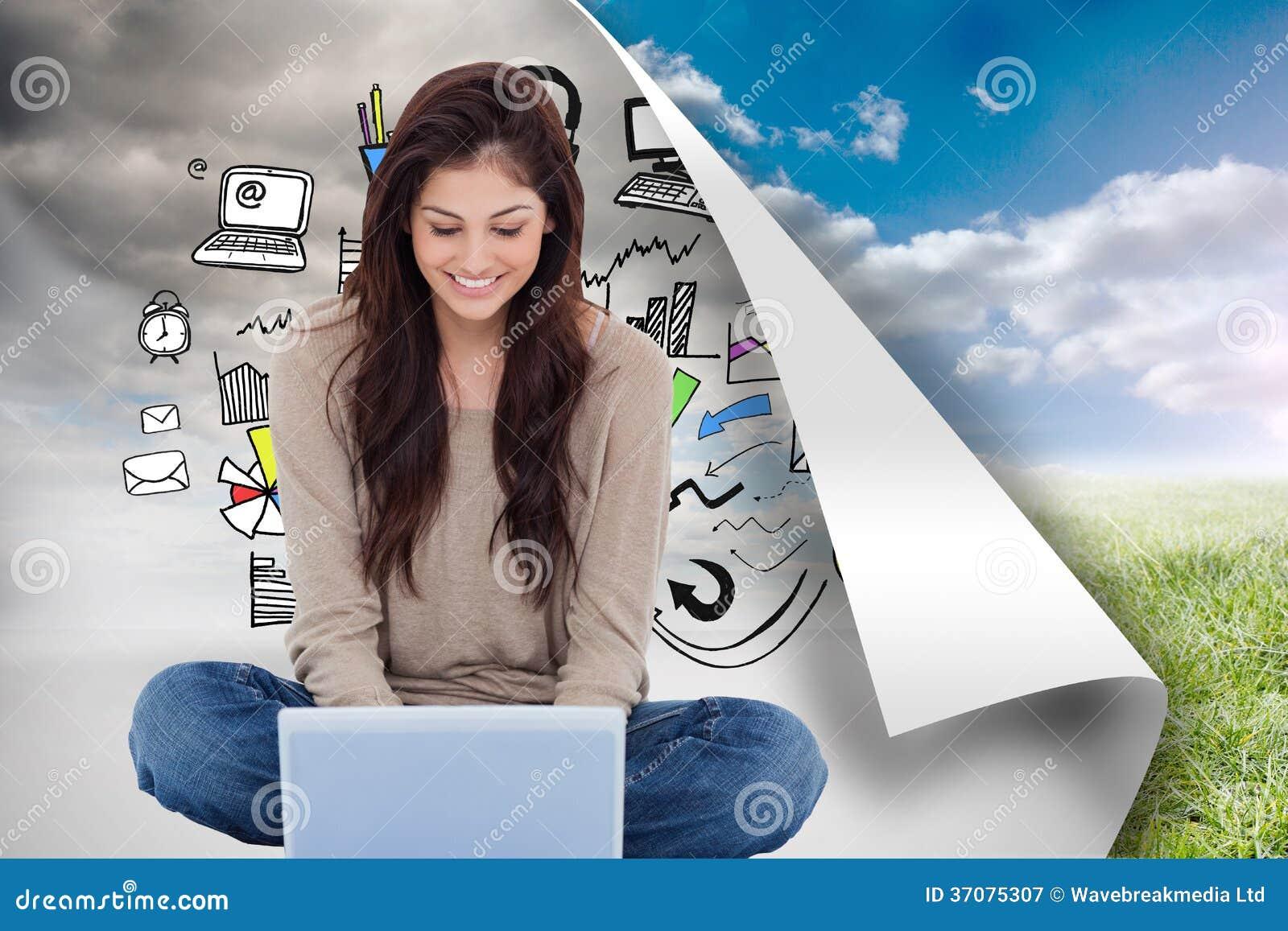 Download Brunetki Obsiadanie Na Podłogowym Używa Laptopie Ilustracji - Ilustracja złożonej z doodle, digitise: 37075307