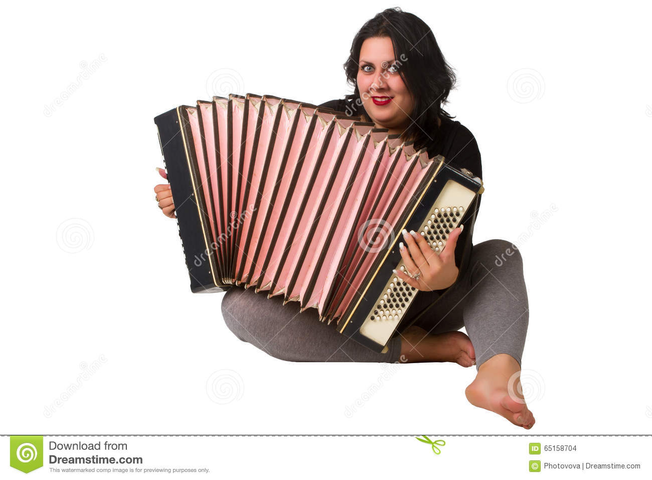 Brunette with accordion stock photo  Image of cute, musical - 65158704