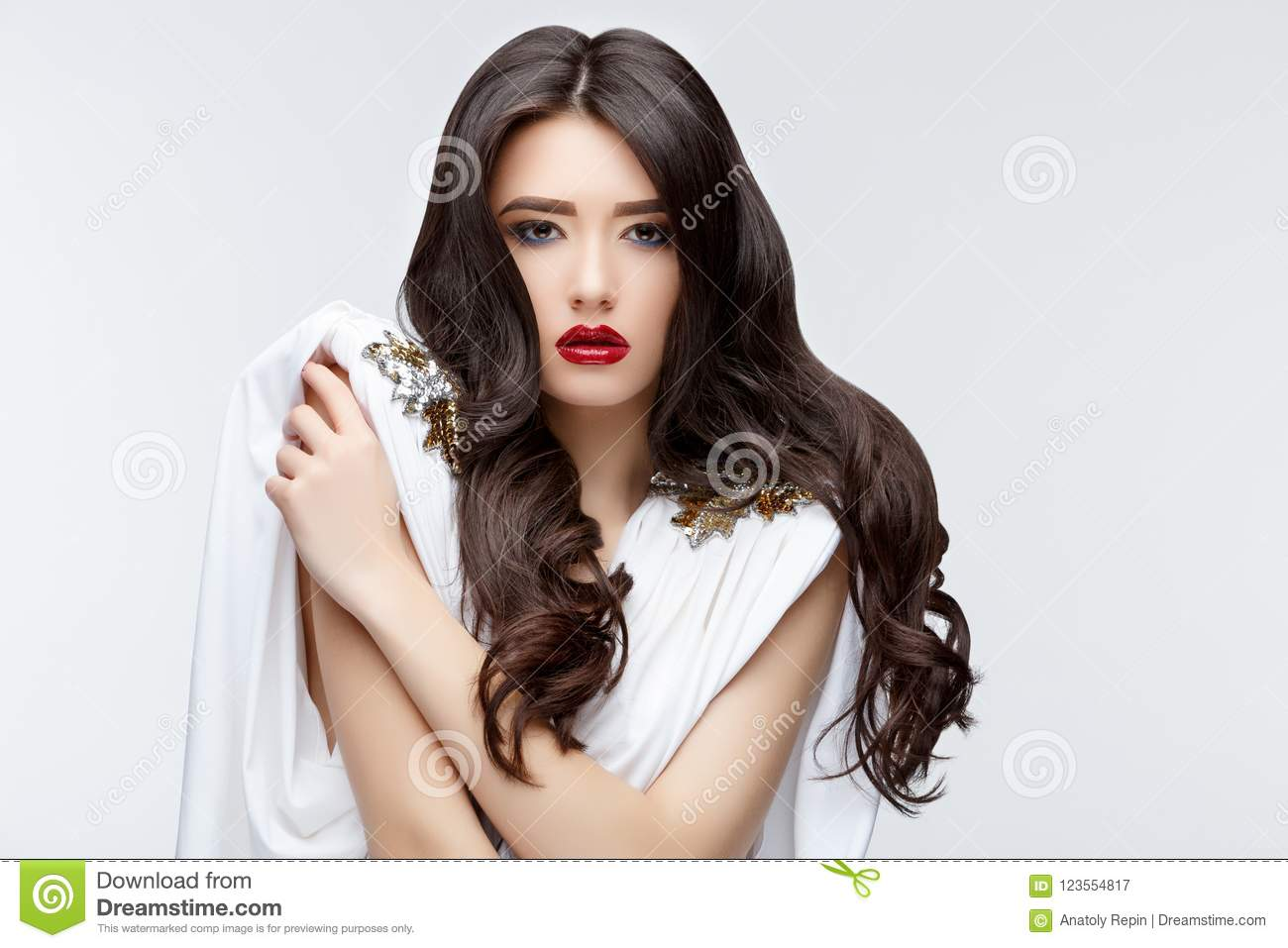 Girl hair curly Asian with