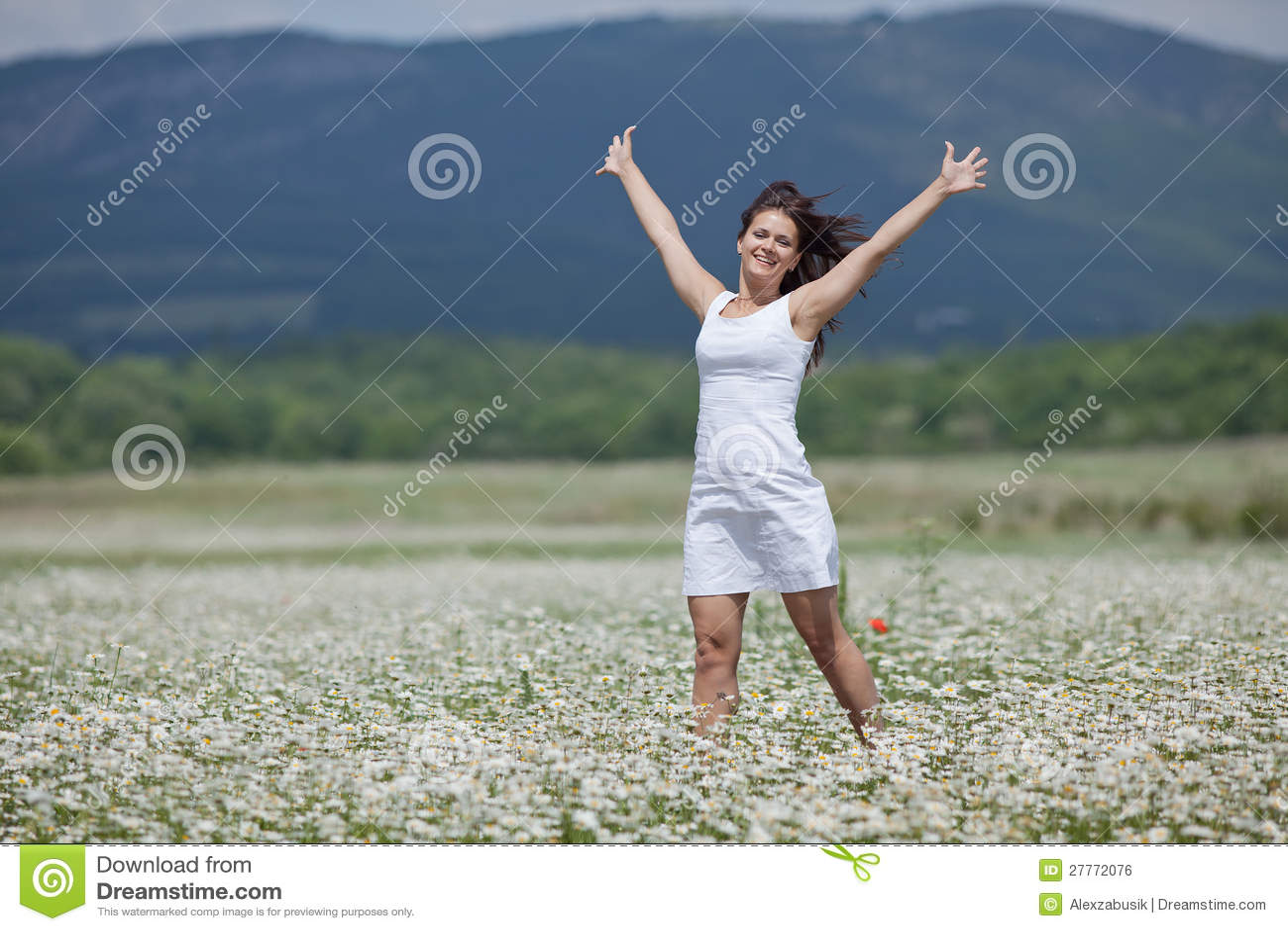 Brunette attirant marchant le long du pré de camomille