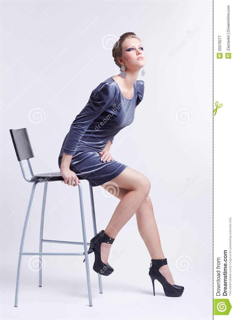 Brunette On Bar Stool Royalty Free Stock Photography Image 30378277