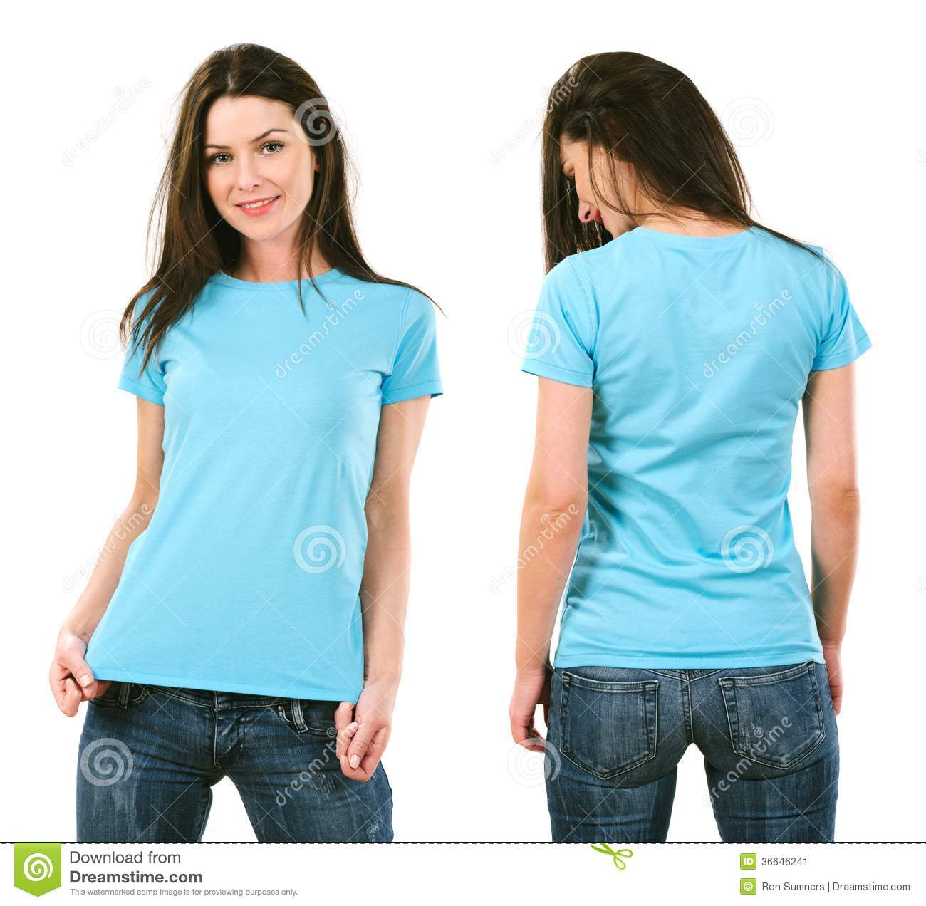 brunette with blank light blue shirt stock image image
