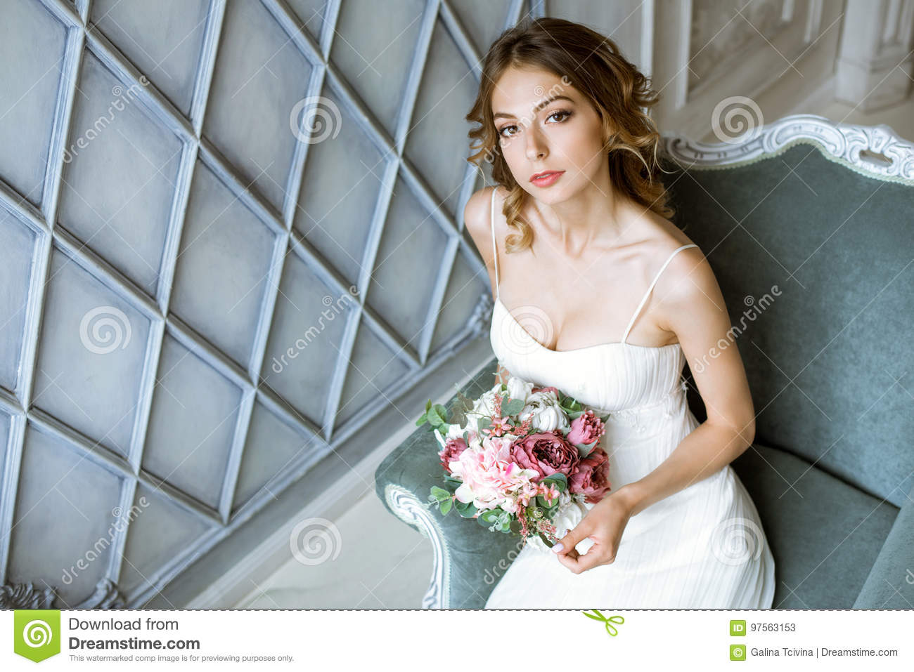 Brunette Bride In Fashion White Wedding Dress With Makeup Stock ...