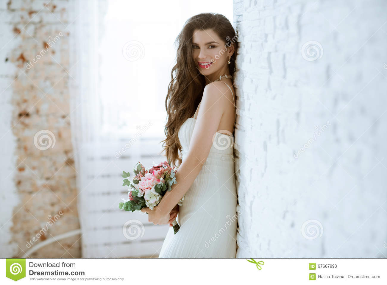 Brunette Bride In Fashion White Wedding Dress With Makeup Stock