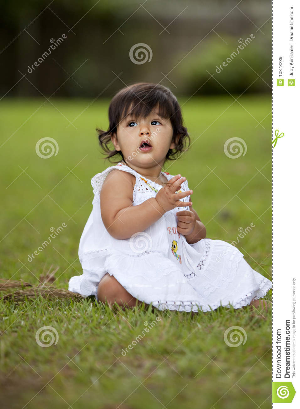 brunette child in grass stock image  image of cute  child