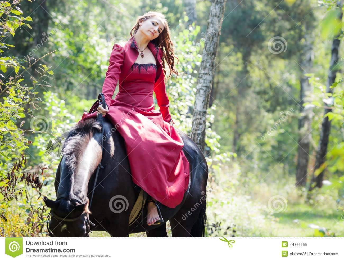 https://thumbs.dreamstime.com/z/brunette-girl-horse-young-beautiful-sit-back-black-green-forest-44866955.jpg