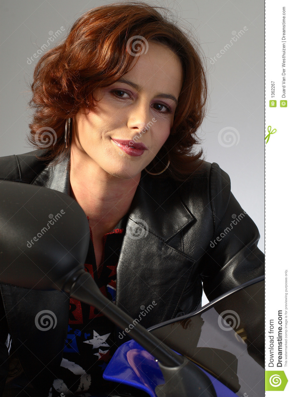 Brunette Girl On Motorcycle Leather Jacket Royalty Free Stock