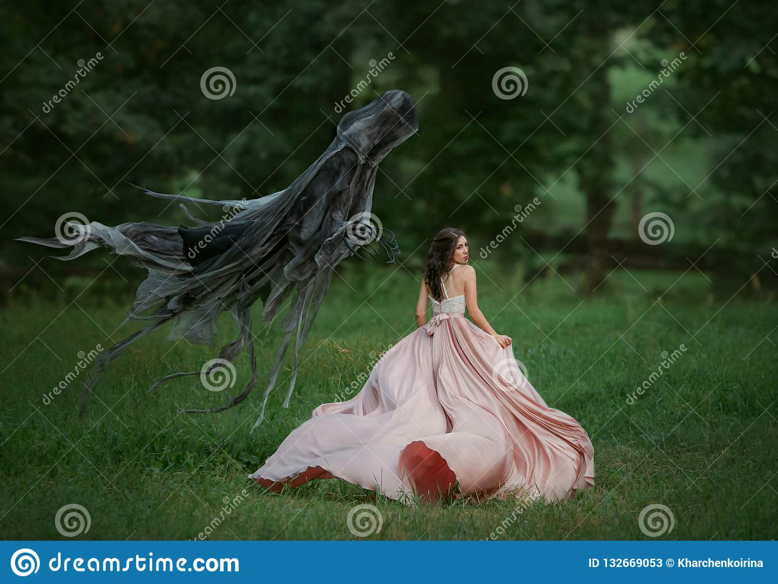 Brunette girl in a panic runs away from death. Dark evil curse haunting woman. Enchanted princess in a luxurious, flying
