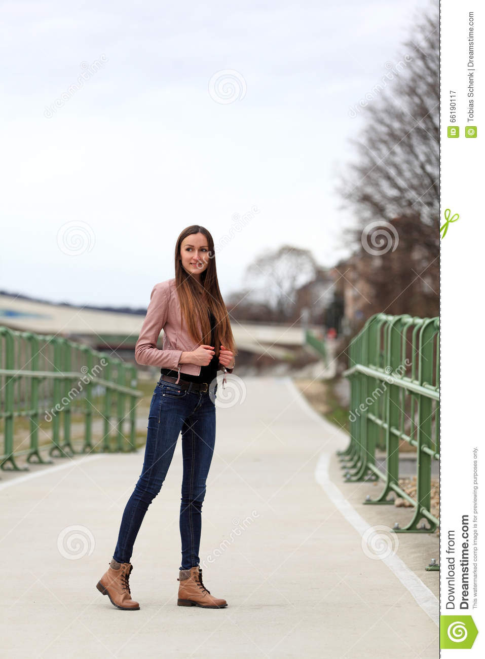 Brunette Girl Wearing Leather Jacket, Blue Jeans And Boots -6170