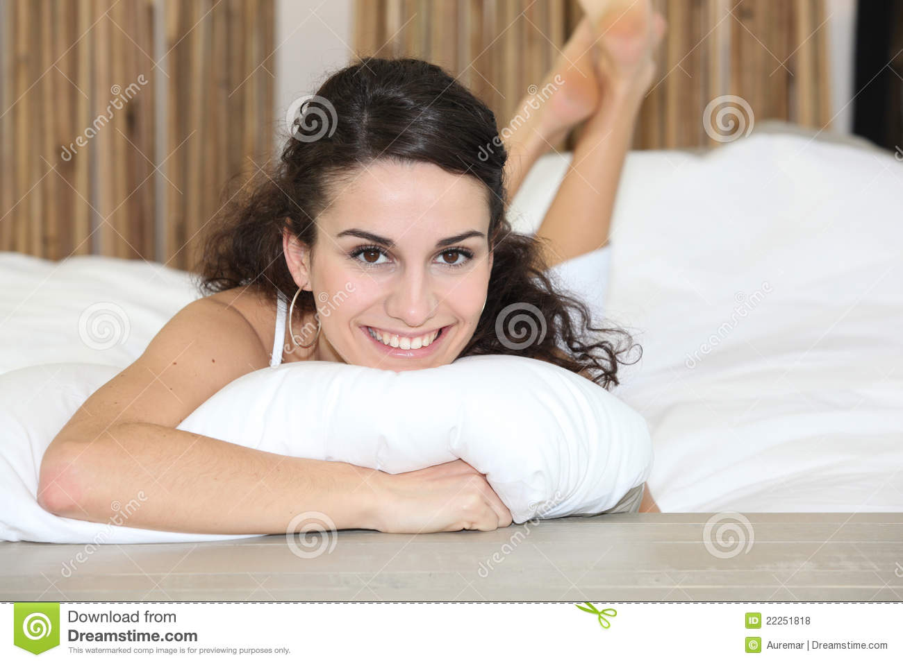 Brunette laying in bed royalty free stock photos image for Sexy bed photos