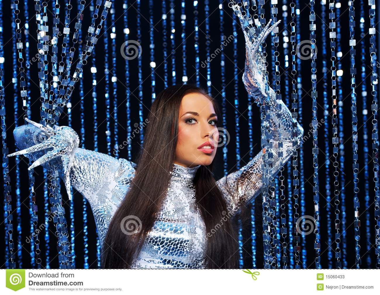 Brunette With Long Nail Gloves Stock Image - Image of gorgeous ...