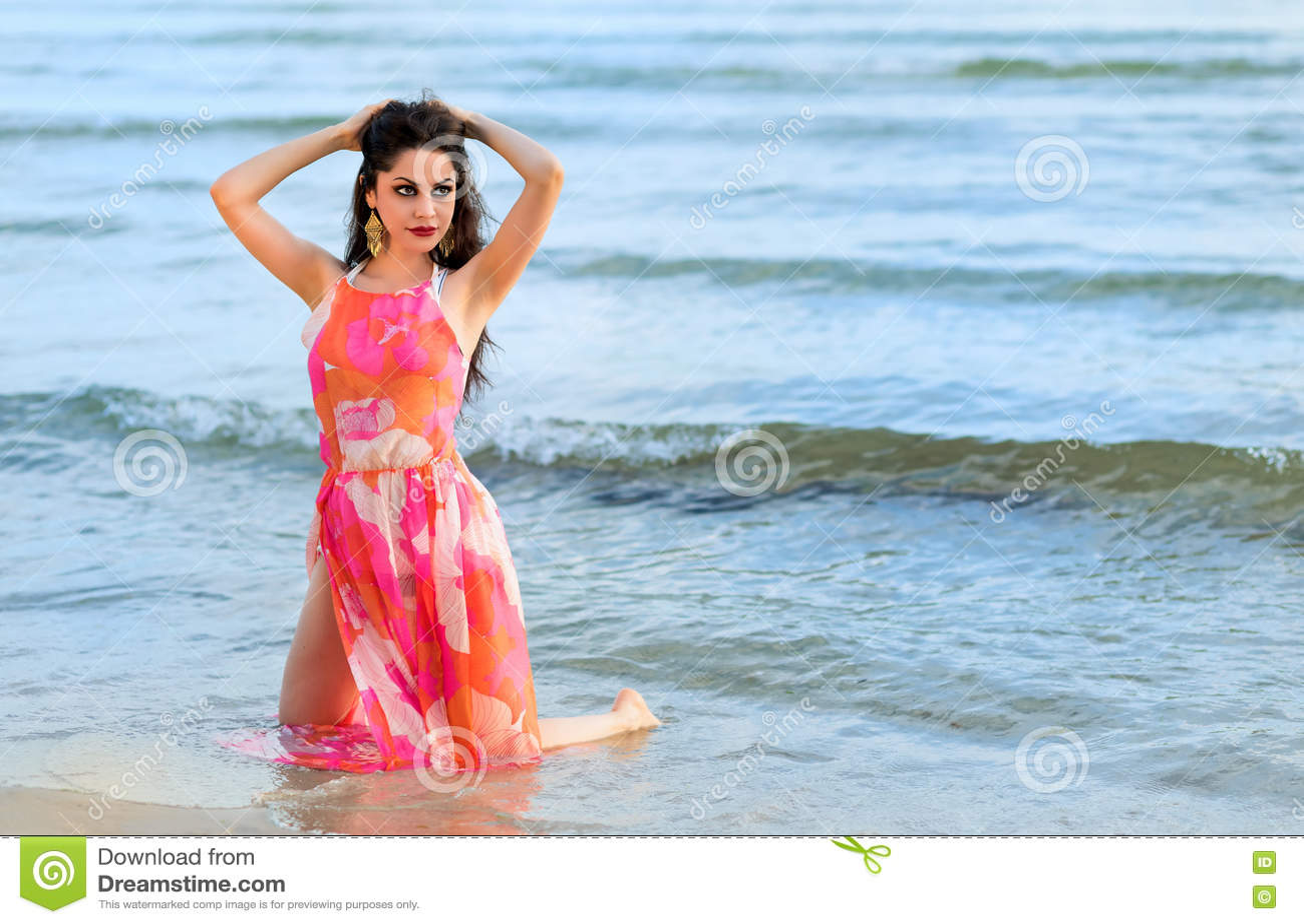 Brunette Model Photo Posing On Swedish Beach Stock Image Image Of Beach Relax 78005715