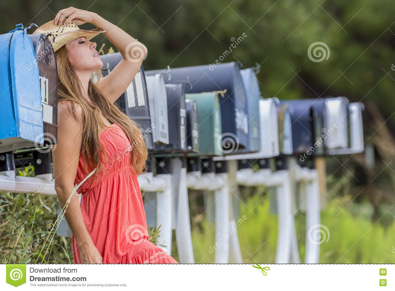 Waiting For Mail >> Brunette Model Waiting For The Mail Stock Image Image Of Girl