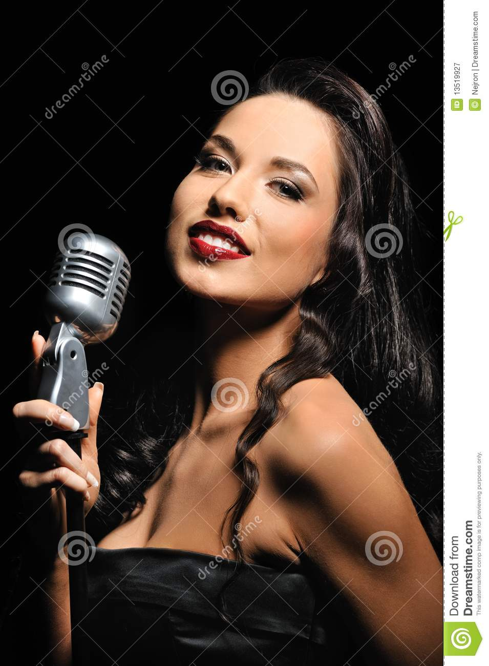 Brunette with a retro microphone