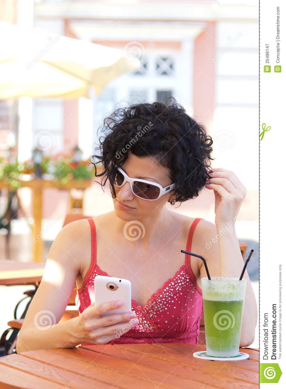Brunette with smartphone
