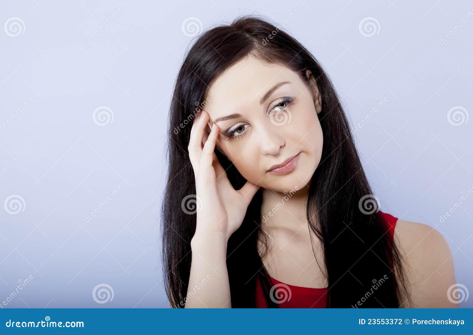 Brunette triste e depresso