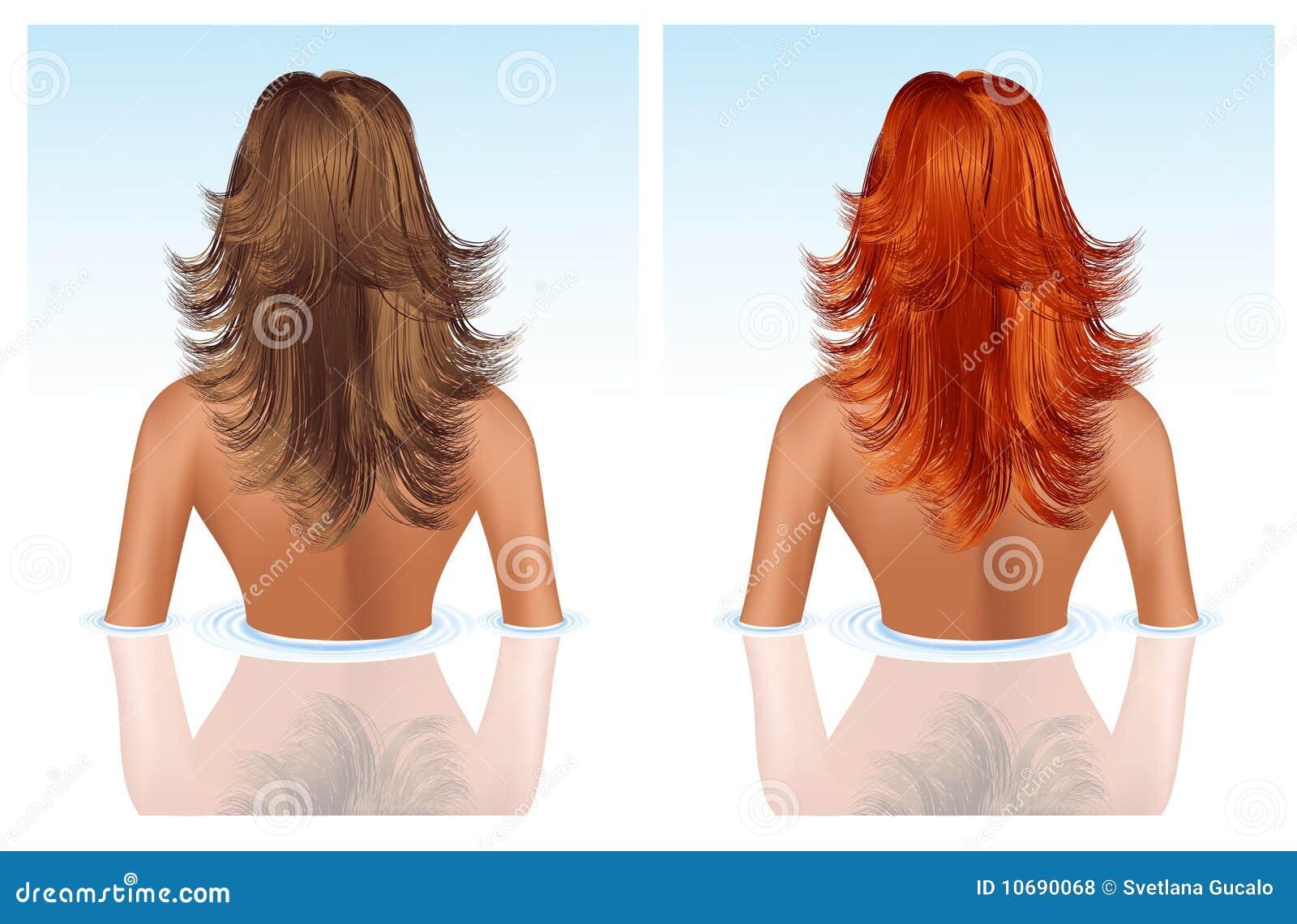 Brunette und Mädchen mit dem roten Haar, das Bad nimmt