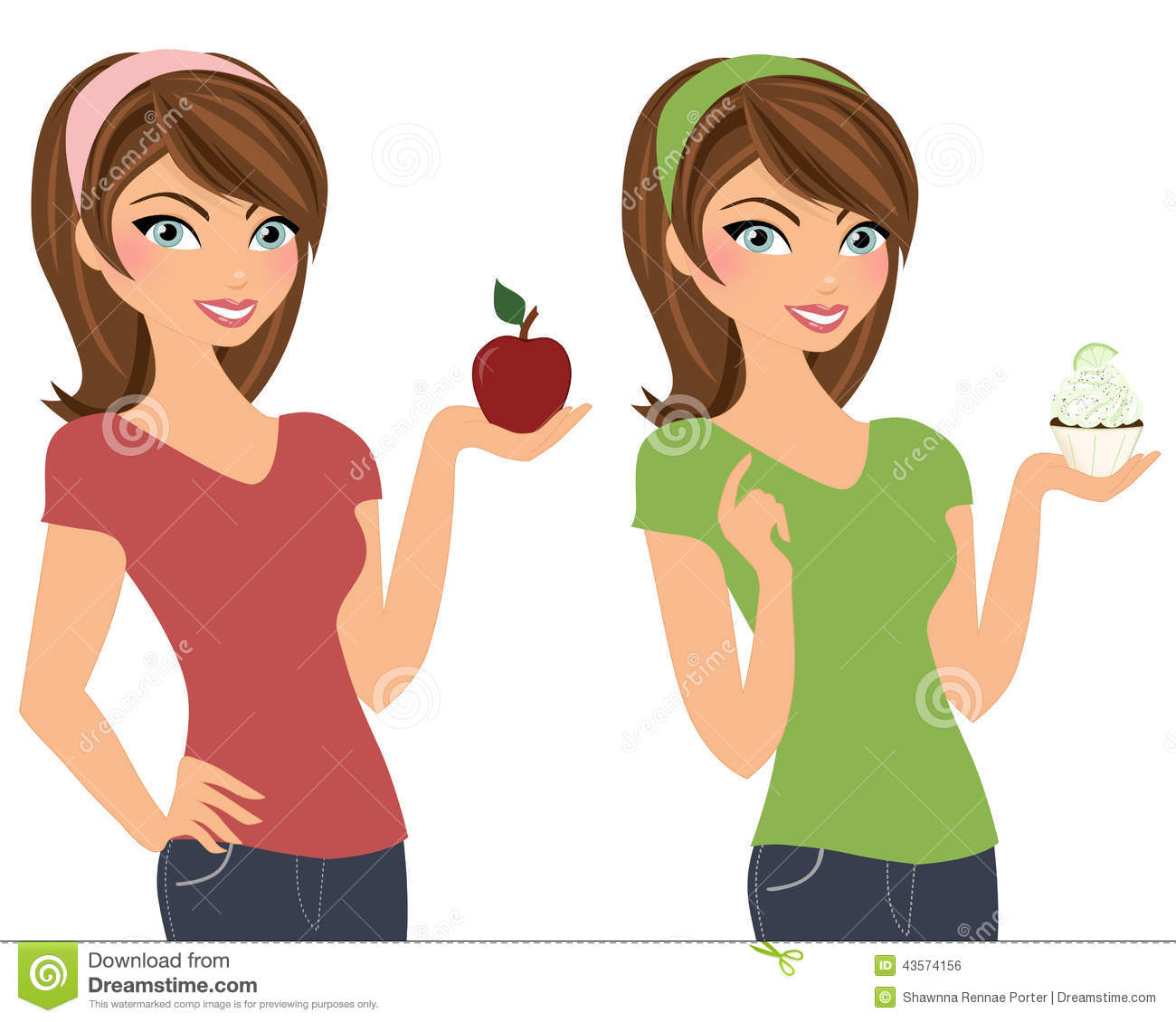 brunette woman with apple or cupcake stock photo