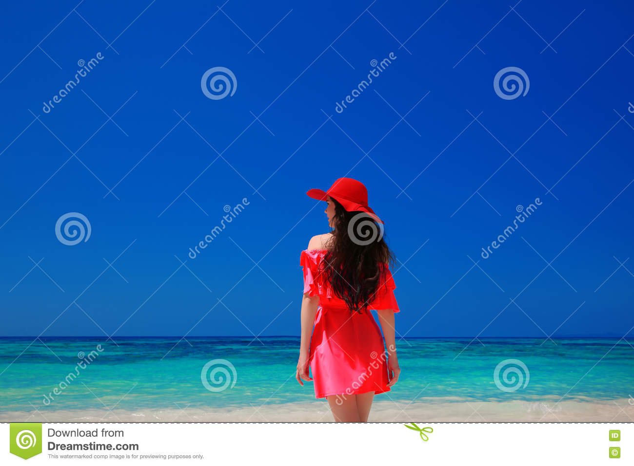 Brunette Woman on azure sea,Tropical Beach. Attractive girl in r