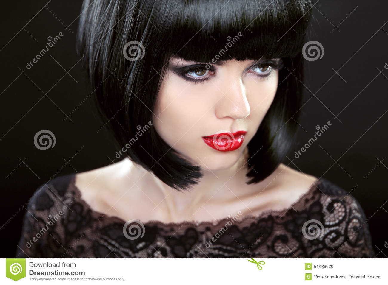 Brunette Woman With Black Short Hair Haircut Hairstyle