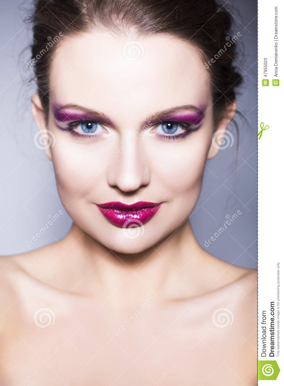 Brunette Woman With Creative Make Up Violet Eye Shadows ...