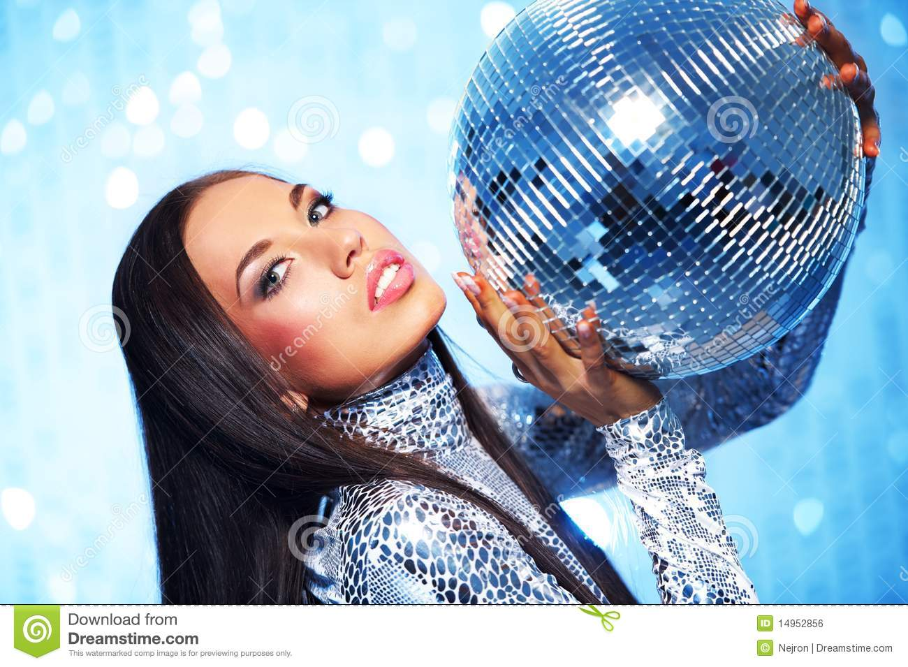 Brunette woman with a disco ball