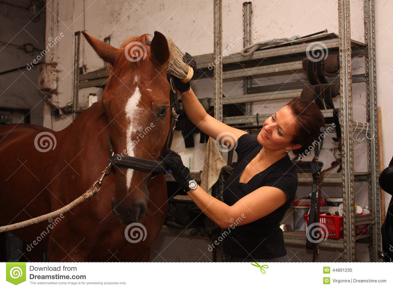 image Brunette horse riding a guy in bikini while baiting him with a banana