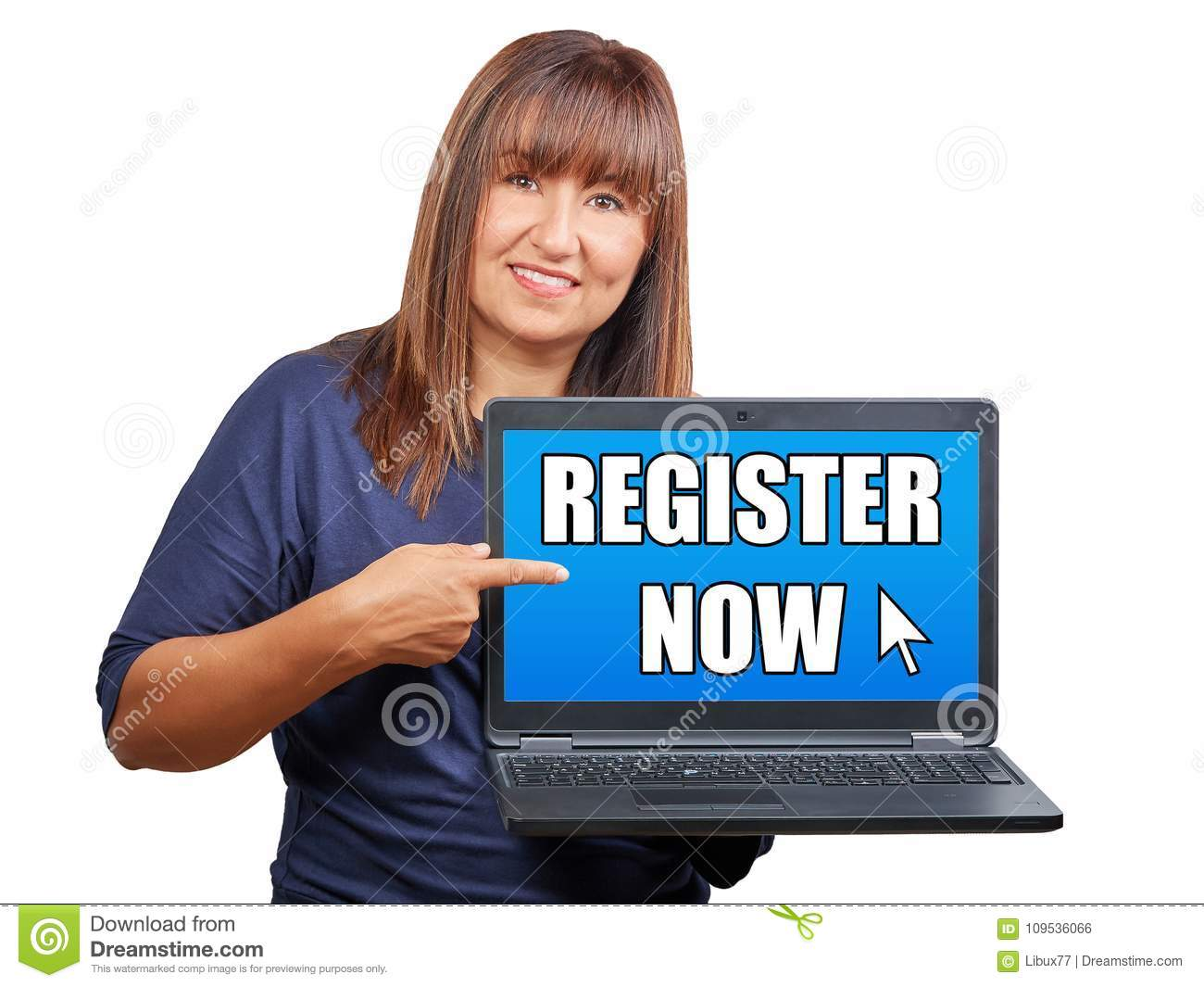 Brunette woman with laptop or notebook indicating register now o