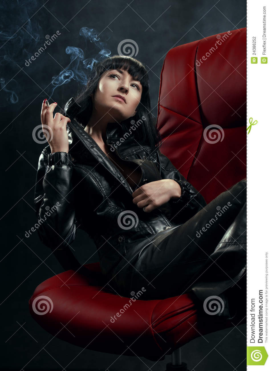 Brunette Woman In Red Armchair Stock Photo - Image of ...
