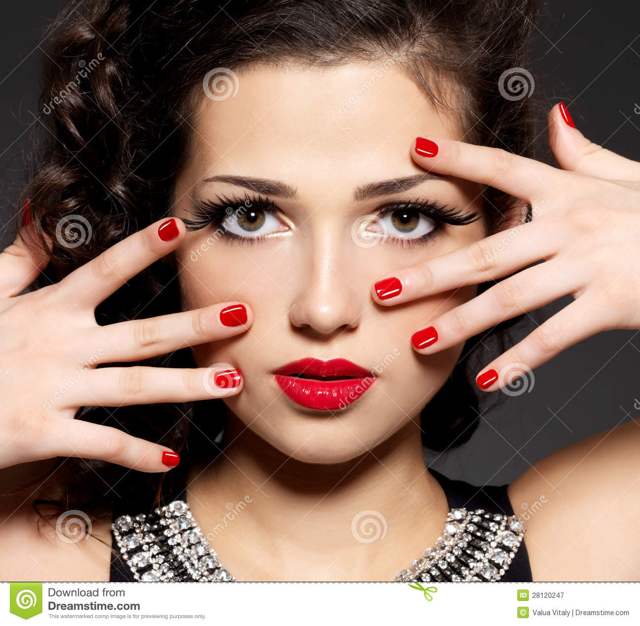 Brunette Woman With Red Nails And Makeup Stock Image - Image of hand ...