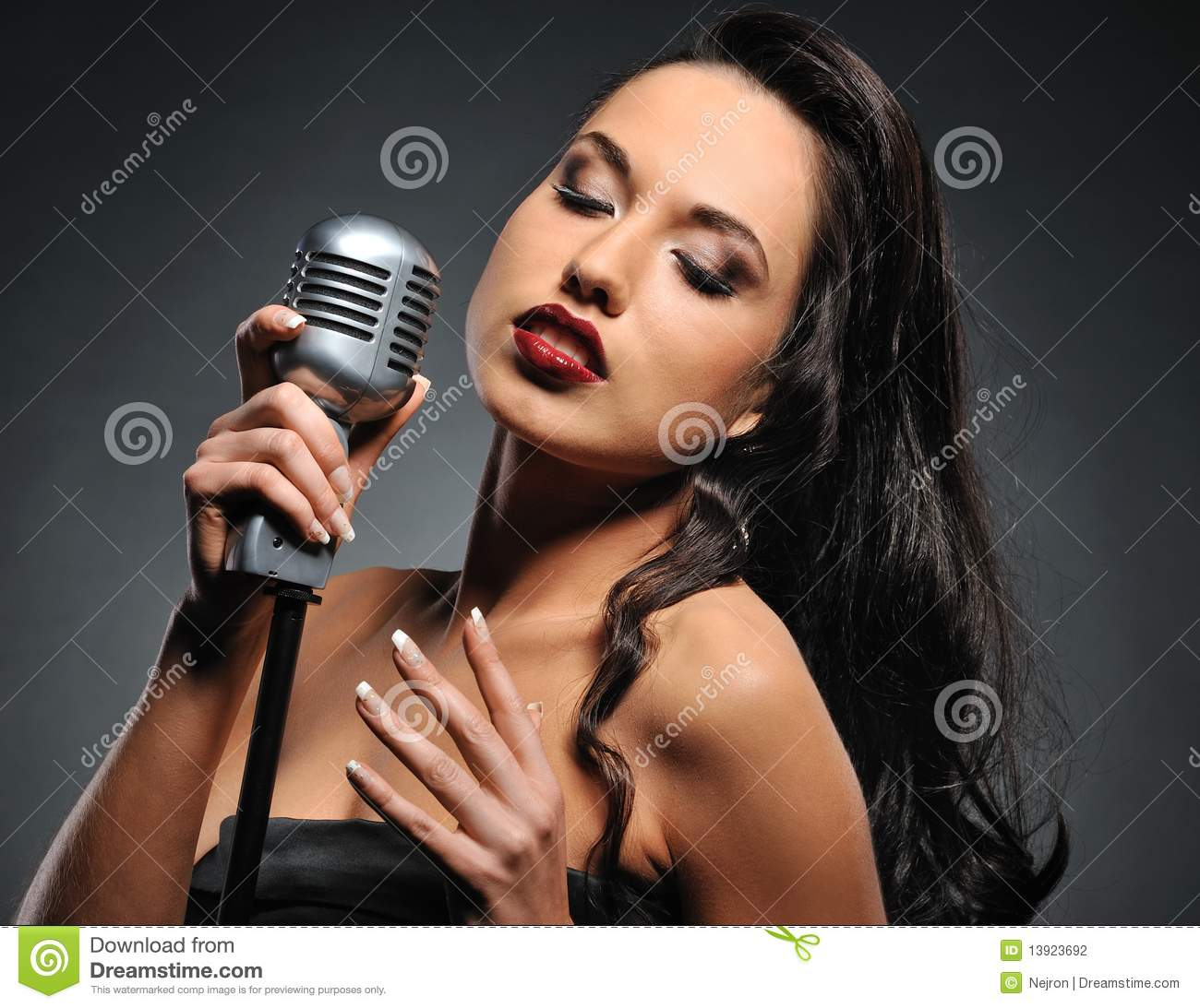 brunette woman with a retro microphone