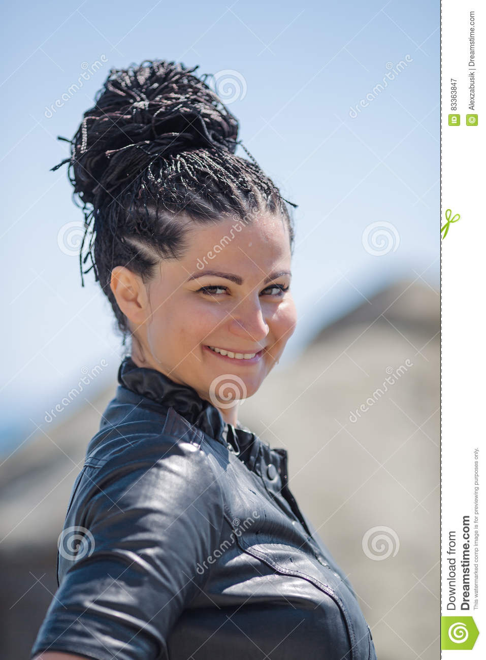 Brunette Woman Smiling Looking At Camera Stock Image