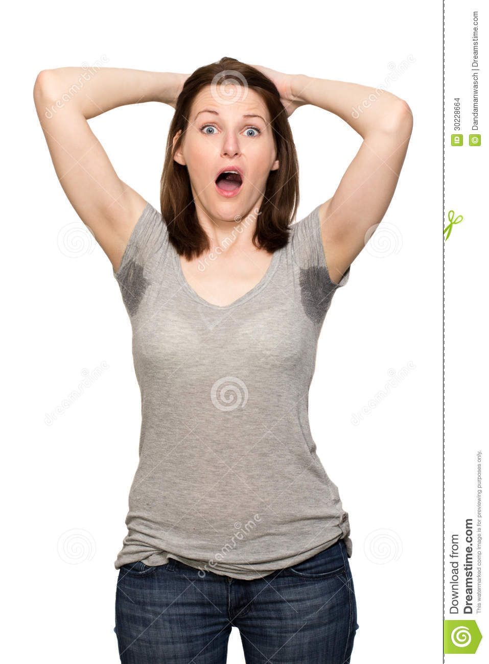 Woman Sweating Very Badly Under Armpit Stock Images - Image: 30228664