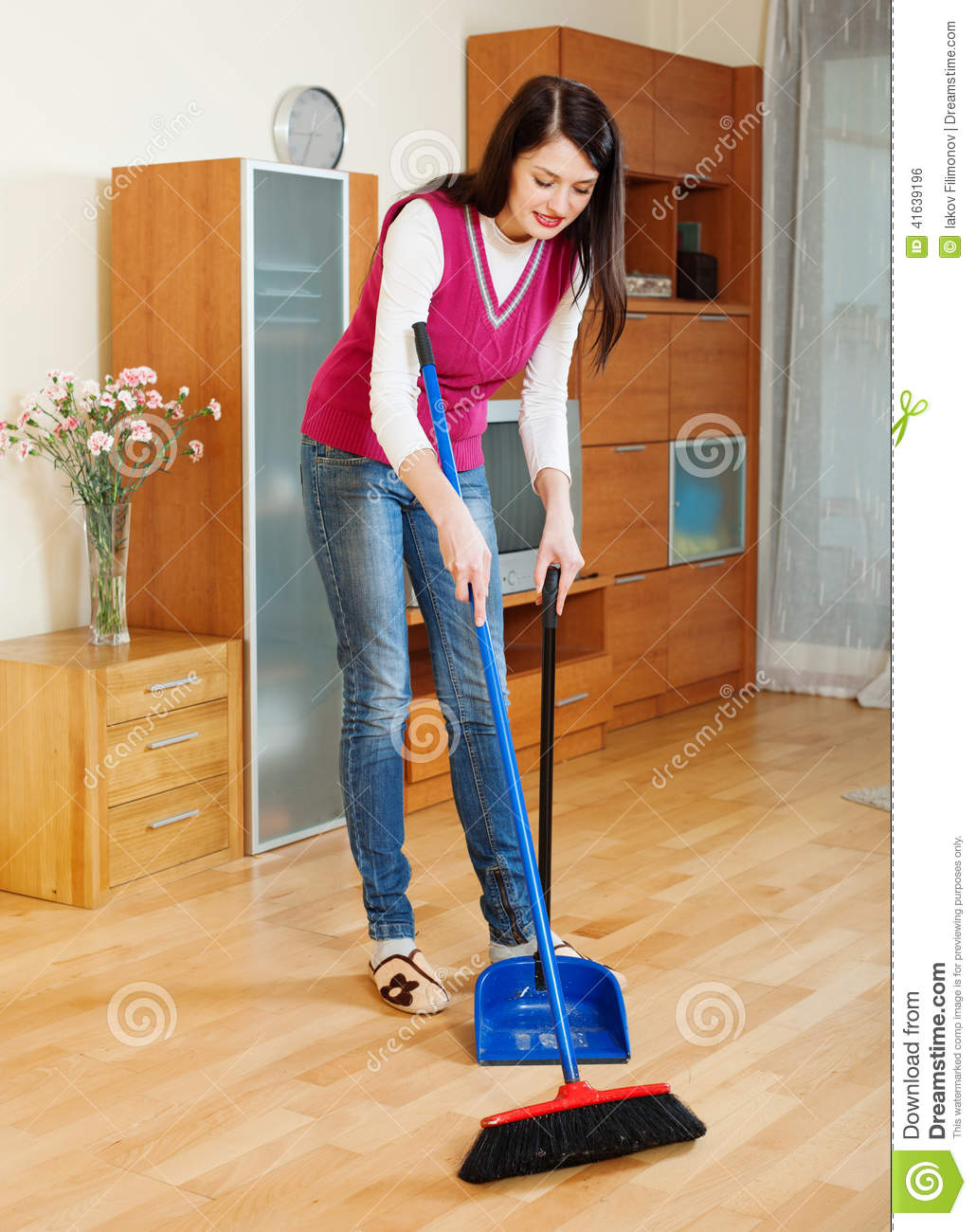 Brunette Woman Sweeping The Floor Stock Photo Image