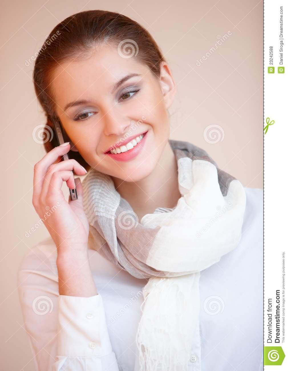 Happy Blond Business Woman Using Her Mobile Stock Photo