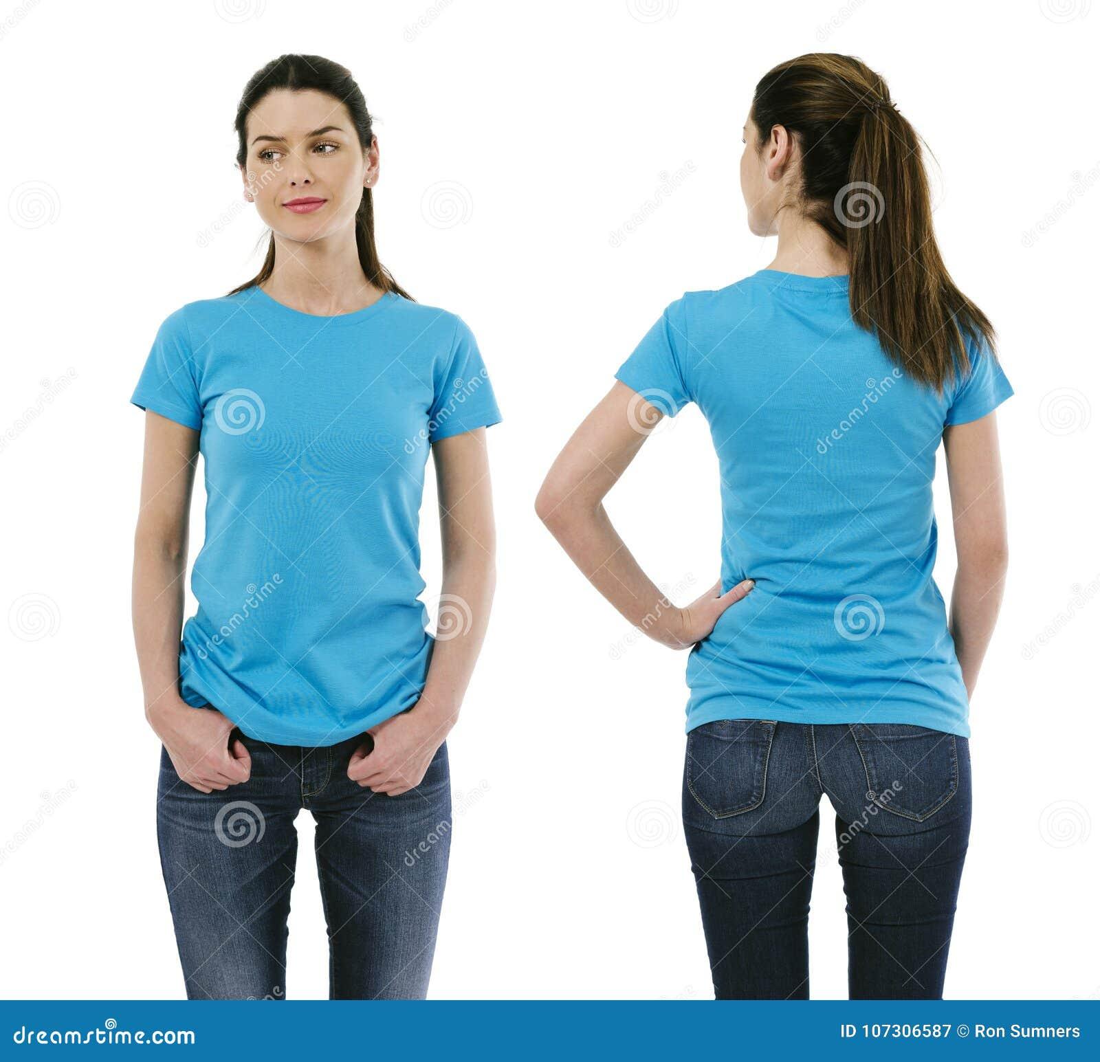 Brunette woman wearing blank light blue shirt